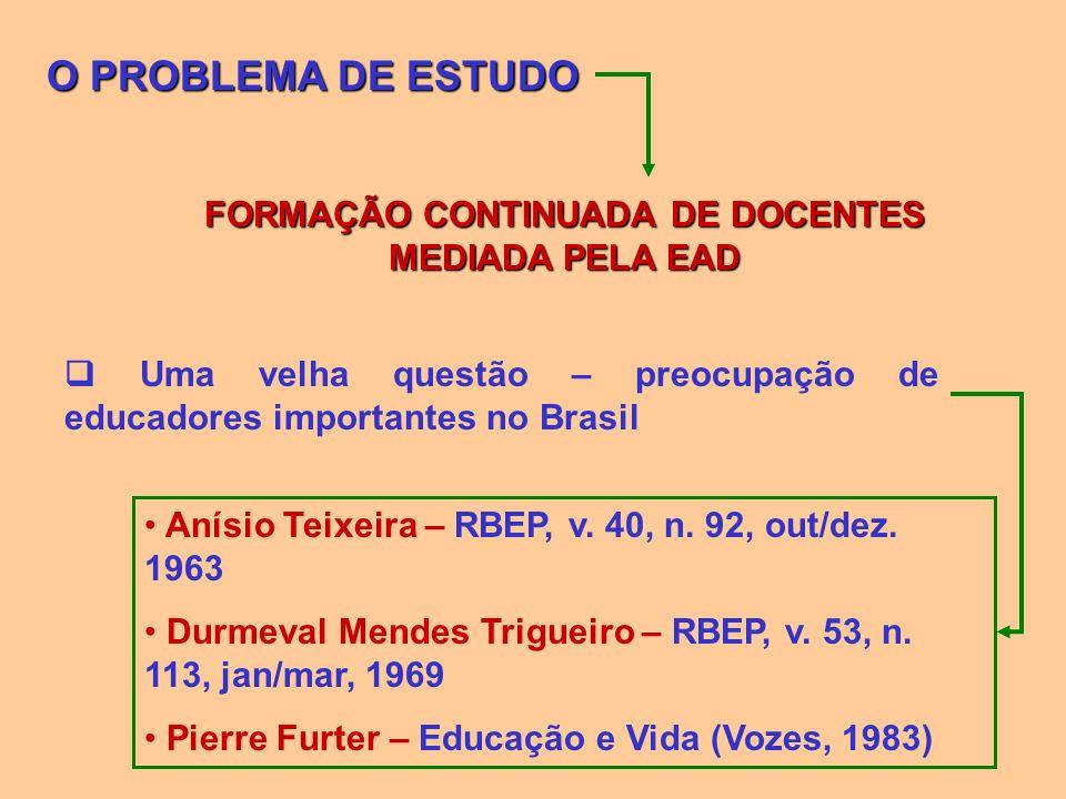 O PROBLEMA DE ESTUDO FORMAÇÃO CONTINUADA DE DOCENTES MEDIADA PELA EAD Uma velha questão – preocupação de educadores importantes no Brasil Anísio Teixe