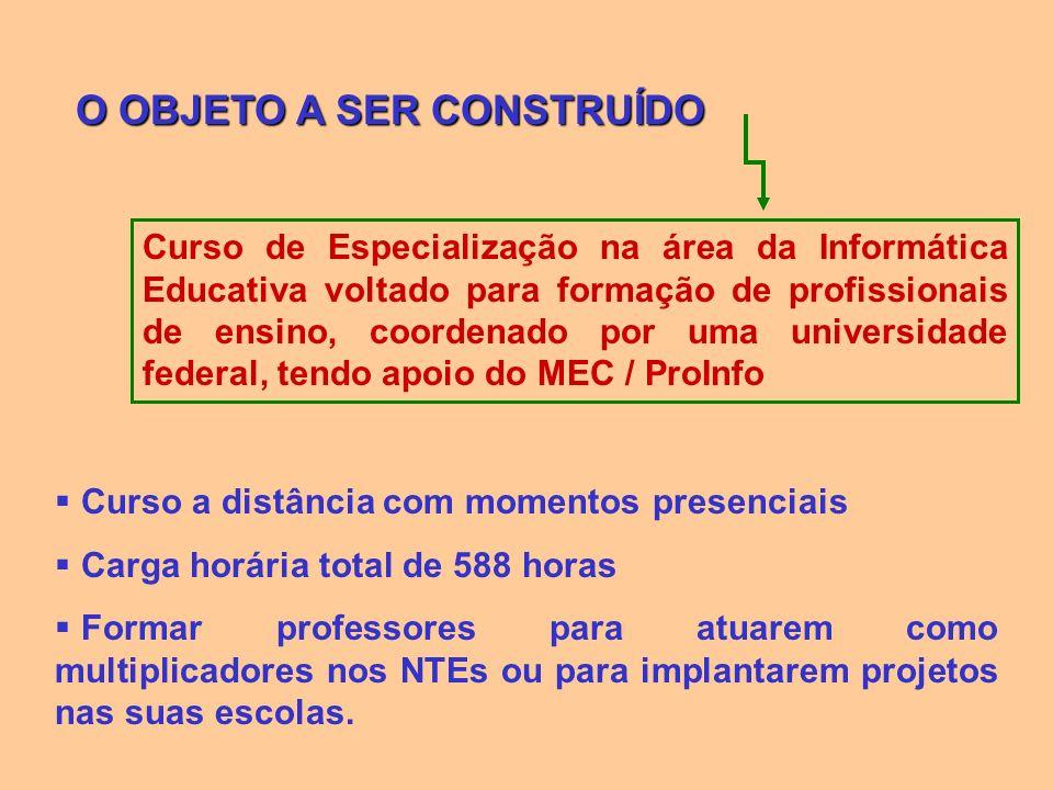 O OBJETO A SER CONSTRUÍDO Curso de Especialização na área da Informática Educativa voltado para formação de profissionais de ensino, coordenado por um