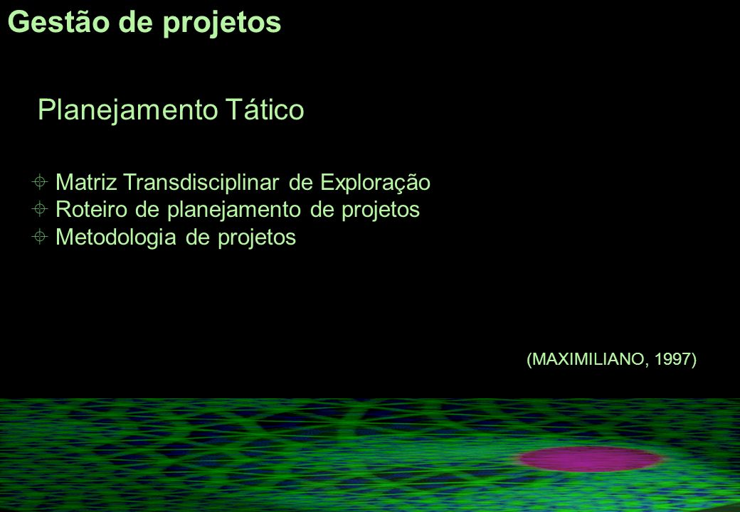 Gestão de projetos Planejamento Tático Matriz Transdisciplinar de Exploração Roteiro de planejamento de projetos Metodologia de projetos (MAXIMILIANO, 1997)