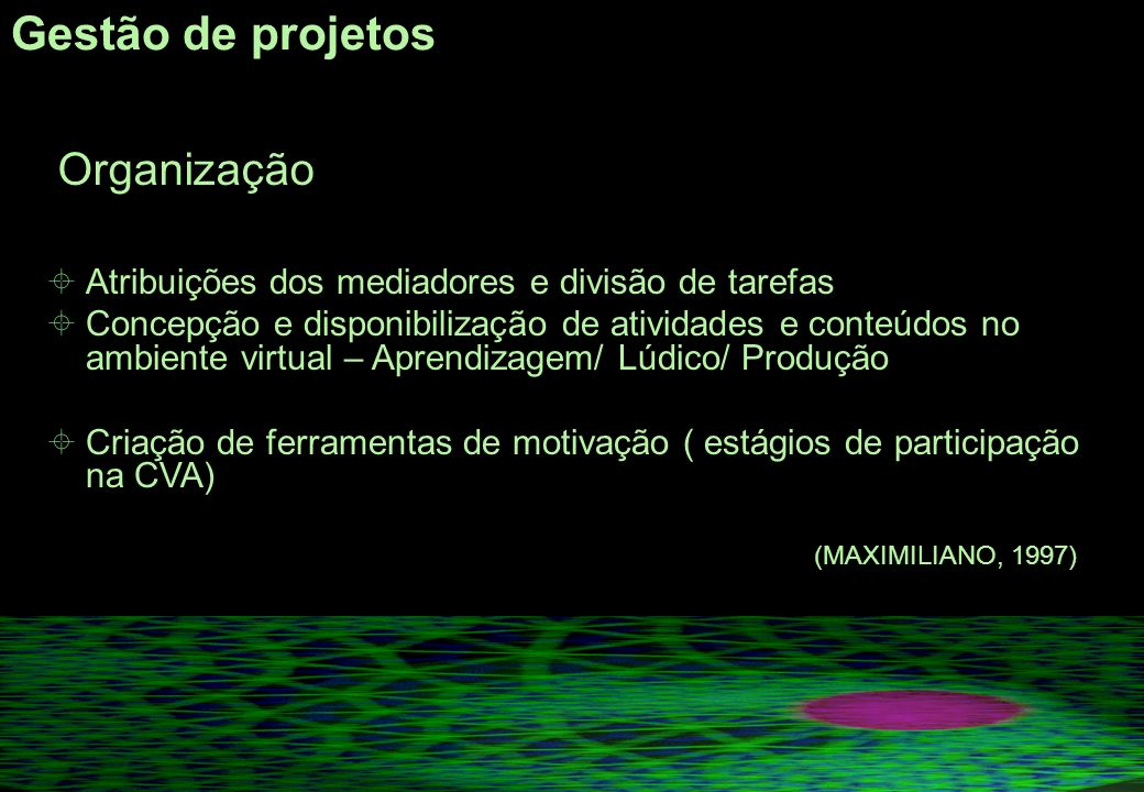Gestão de projetos Organização Atribuições dos mediadores e divisão de tarefas Concepção e disponibilização de atividades e conteúdos no ambiente virtual – Aprendizagem/ Lúdico/ Produção Criação de ferramentas de motivação ( estágios de participação na CVA) (MAXIMILIANO, 1997)