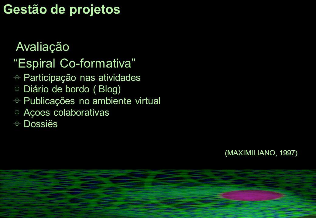 Gestão de projetos Avaliação Espiral Co-formativa Participação nas atividades Diário de bordo ( Blog) Publicações no ambiente virtual Açoes colaborativas Dossiës (MAXIMILIANO, 1997)
