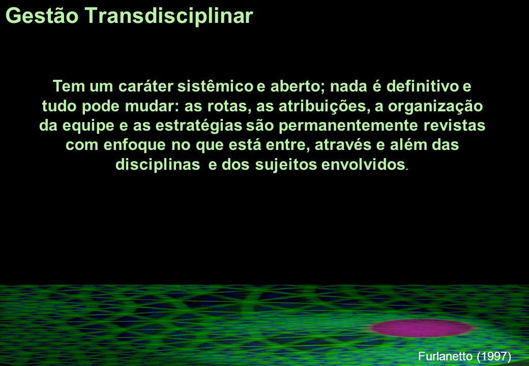 Gestão Transdisciplinar Furlanetto (1997) Tem um caráter sistêmico e aberto; nada é definitivo e tudo pode mudar: as rotas, as atribuições, a organização da equipe e as estratégias são permanentemente revistas com enfoque no que está entre, através e além das disciplinas e dos sujeitos envolvidos.