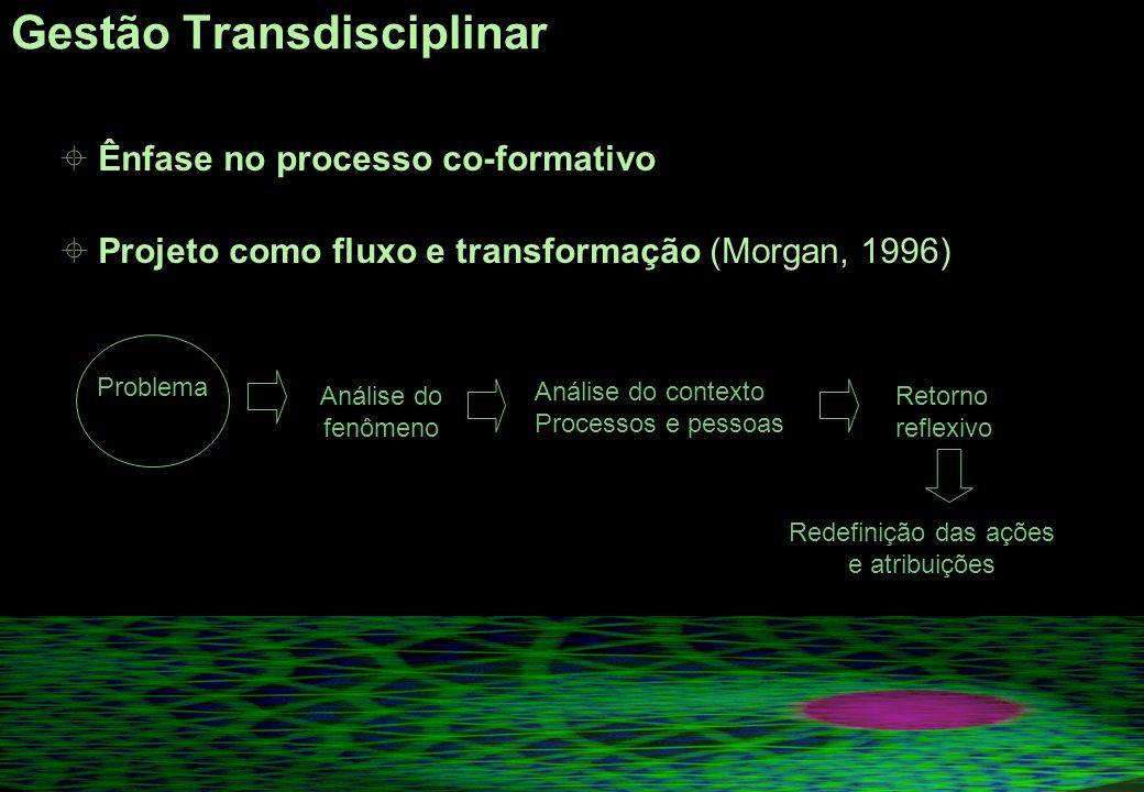 Gestão Transdisciplinar Ênfase no processo co-formativo Projeto como fluxo e transformação (Morgan, 1996) Problema Análise do fenômeno Análise do contexto Processos e pessoas Retorno reflexivo Redefinição das ações e atribuições