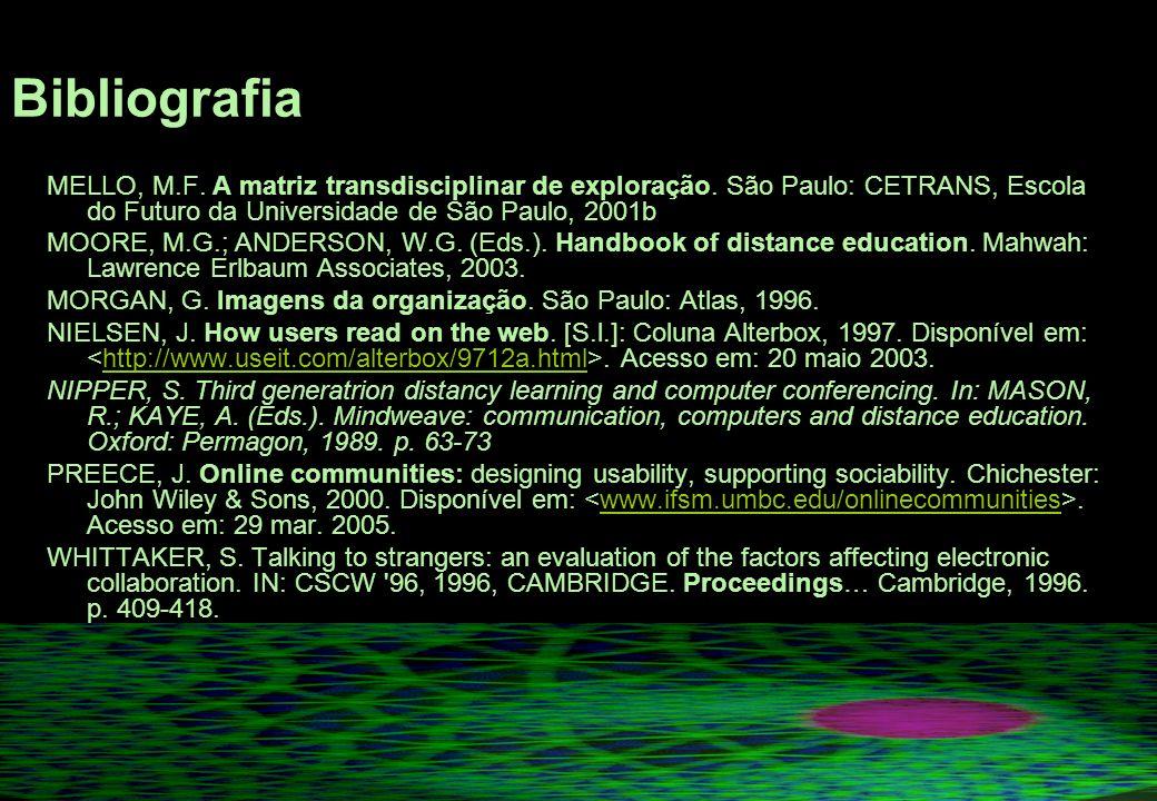 Bibliografia MELLO, M.F.A matriz transdisciplinar de exploração.