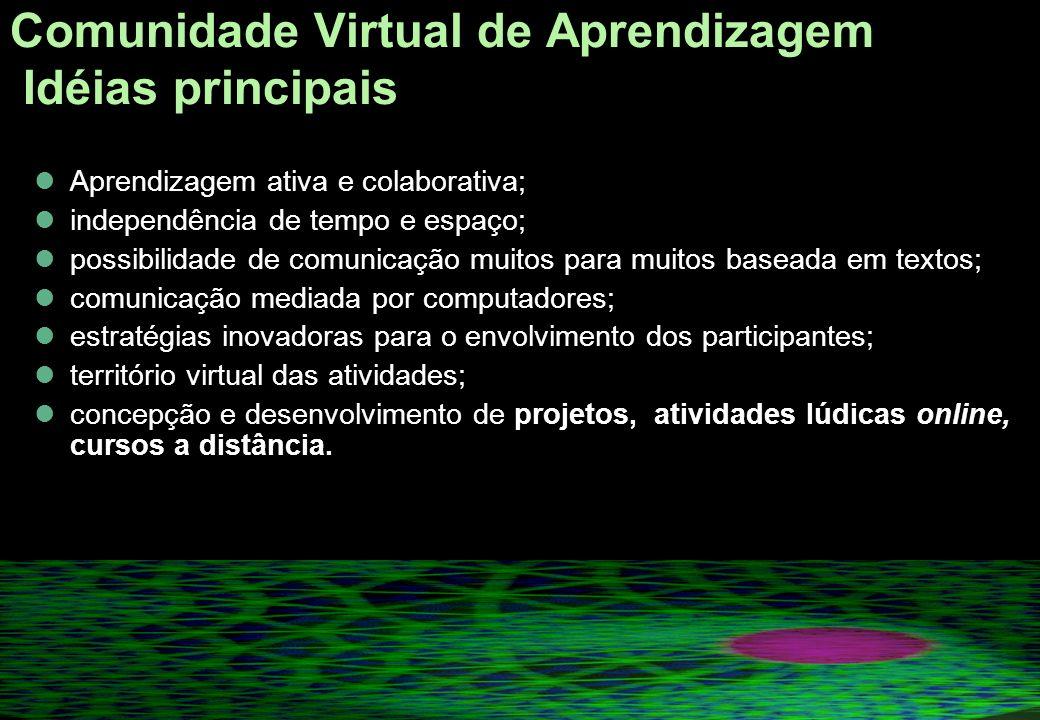Comunidade Virtual de Aprendizagem Idéias principais LÉVY (2002) enfatiza a necessidade de se fazer uma reflexão sobre como reunir e animar uma comunidade virtual, de tal maneira que ela se transforme em uma inteligência coletiva cujas ações científicas, culturais, sociais e econômicas sejam as mais positivas possíveis para o conjunto da comunidade.