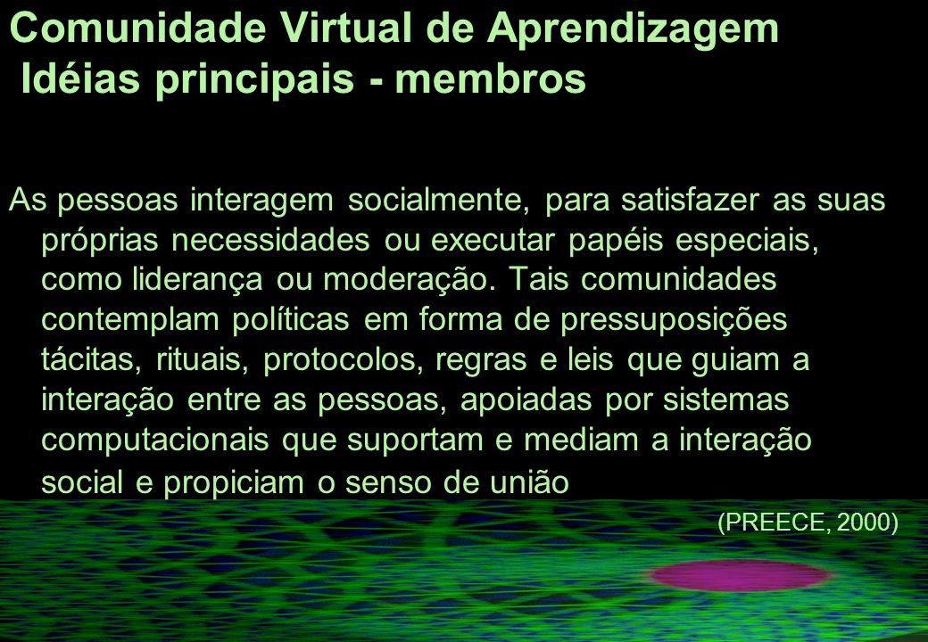 Comunidade Virtual de Aprendizagem Idéias principais - membros As pessoas interagem socialmente, para satisfazer as suas próprias necessidades ou executar papéis especiais, como liderança ou moderação.