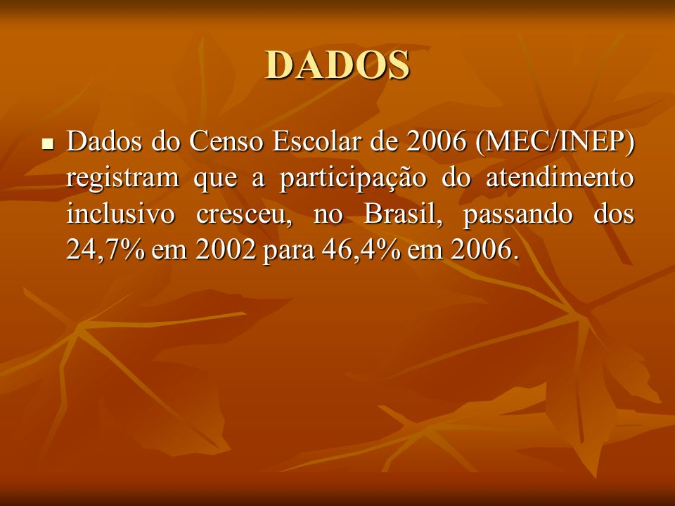 DADOS Dados do Censo Escolar de 2006 (MEC/INEP) registram que a participação do atendimento inclusivo cresceu, no Brasil, passando dos 24,7% em 2002 p