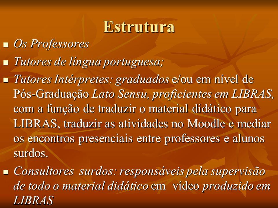 Estrutura Os Professores Os Professores Tutores de língua portuguesa; Tutores de língua portuguesa; Tutores Intérpretes: graduados e/ou em nível de Pó