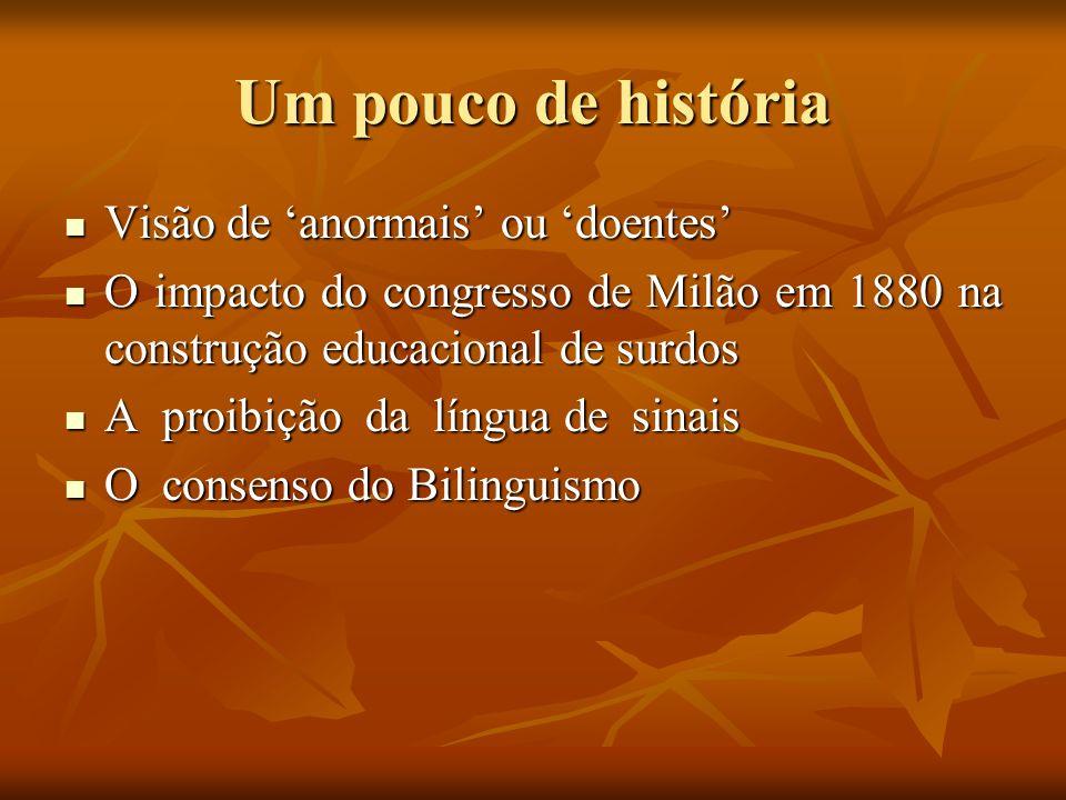 Um pouco de história Visão de anormais ou doentes Visão de anormais ou doentes O impacto do congresso de Milão em 1880 na construção educacional de su