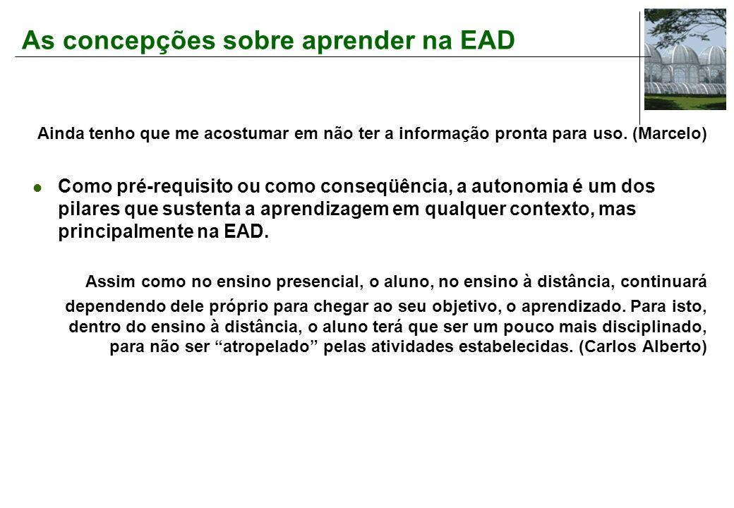 As concepções sobre aprender na EAD Ainda tenho que me acostumar em não ter a informação pronta para uso.