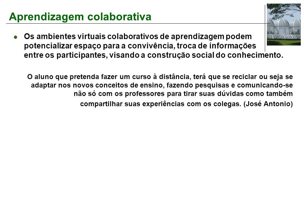 Aprendizagem colaborativa Os ambientes virtuais colaborativos de aprendizagem podem potencializar espaço para a convivência, troca de informações entre os participantes, visando a construção social do conhecimento.