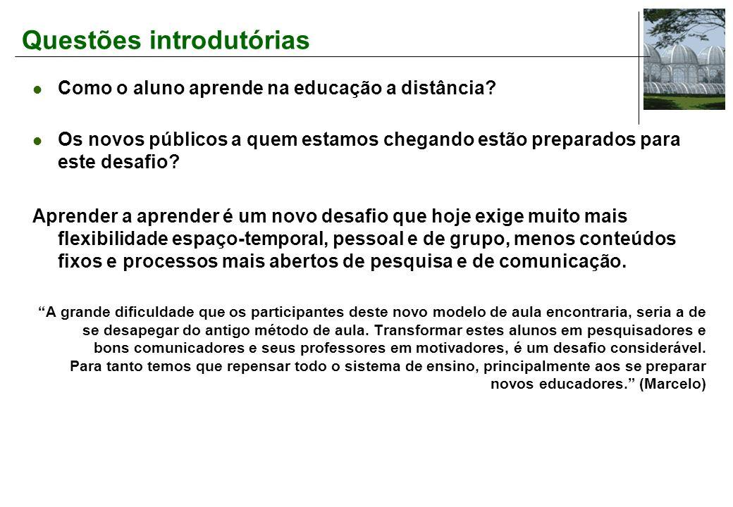 Questões introdutórias Como o aluno aprende na educação a distância.