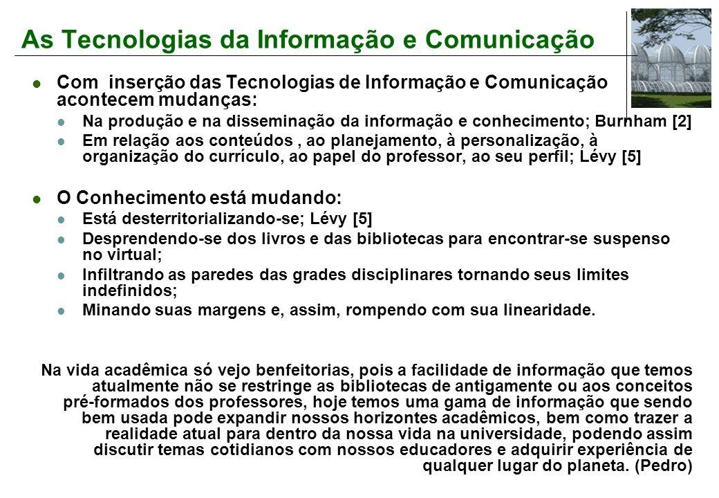 As Tecnologias da Informação e Comunicação Com inserção das Tecnologias de Informação e Comunicação acontecem mudanças: Na produção e na disseminação da informação e conhecimento; Burnham [2] Em relação aos conteúdos, ao planejamento, à personalização, à organização do currículo, ao papel do professor, ao seu perfil; Lévy [5] O Conhecimento está mudando: Está desterritorializando-se; Lévy [5] Desprendendo-se dos livros e das bibliotecas para encontrar-se suspenso no virtual; Infiltrando as paredes das grades disciplinares tornando seus limites indefinidos; Minando suas margens e, assim, rompendo com sua linearidade.