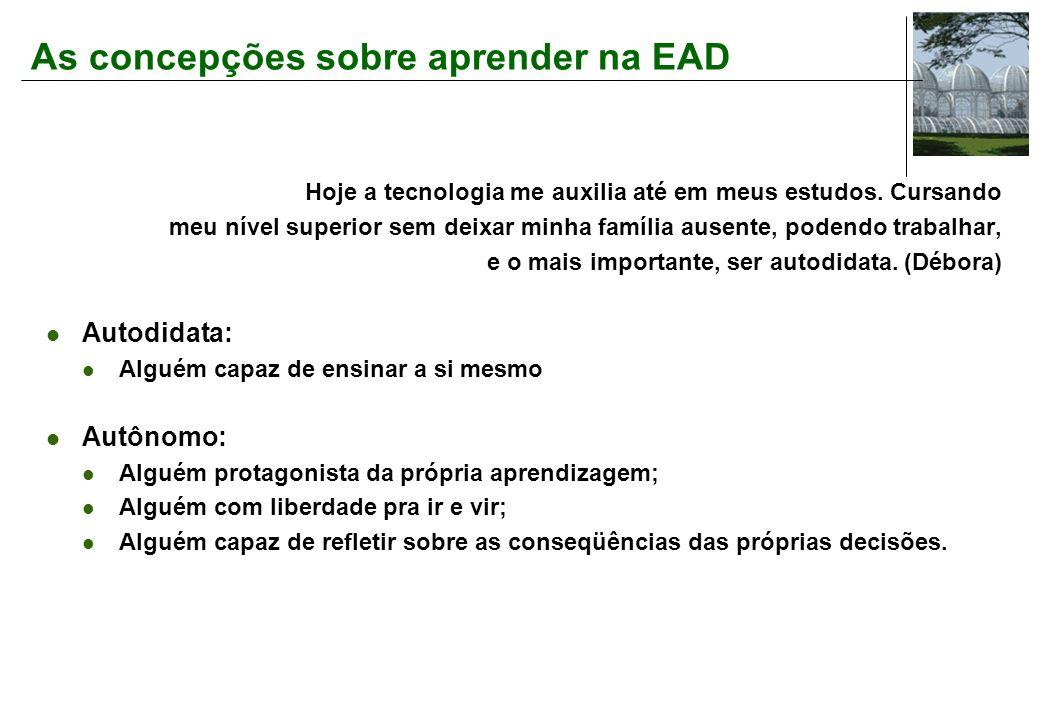As concepções sobre aprender na EAD Hoje a tecnologia me auxilia até em meus estudos.