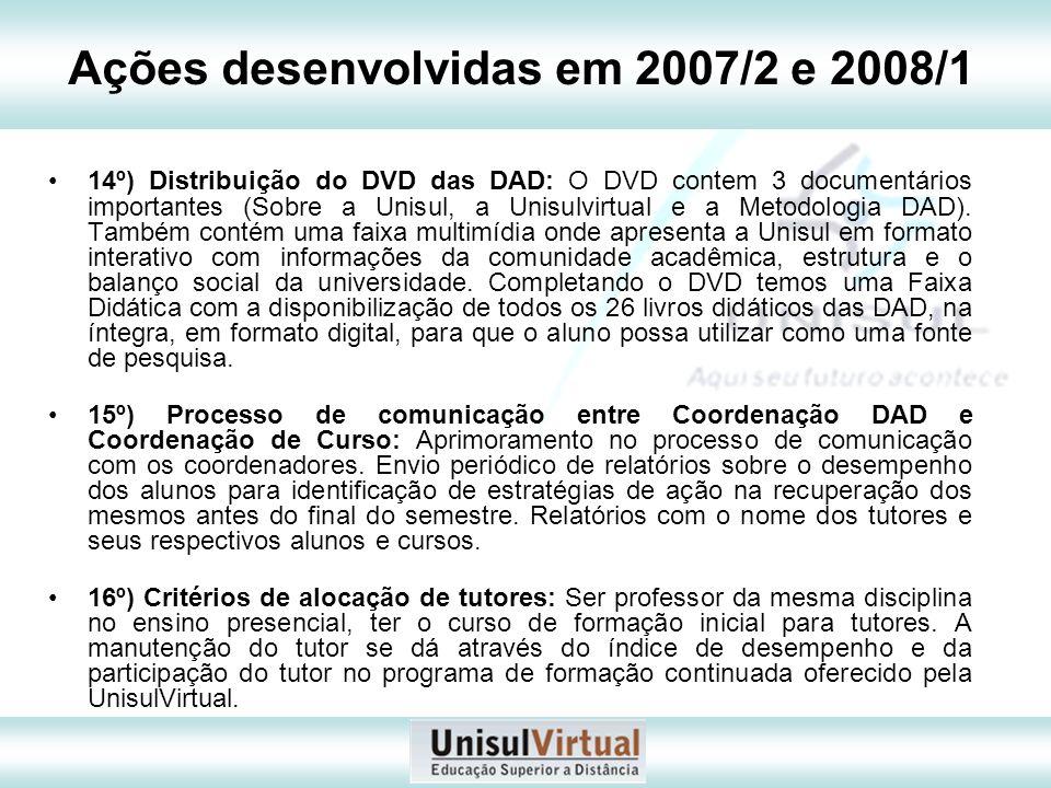 Ações desenvolvidas em 2007/2 e 2008/1 14º) Distribuição do DVD das DAD: O DVD contem 3 documentários importantes (Sobre a Unisul, a Unisulvirtual e a