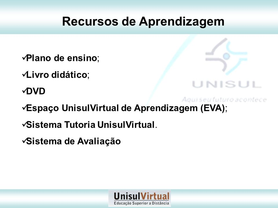 Plano de ensino; Livro didático; DVD Espaço UnisulVirtual de Aprendizagem (EVA); Sistema Tutoria UnisulVirtual. Sistema de Avaliação Recursos de Apren