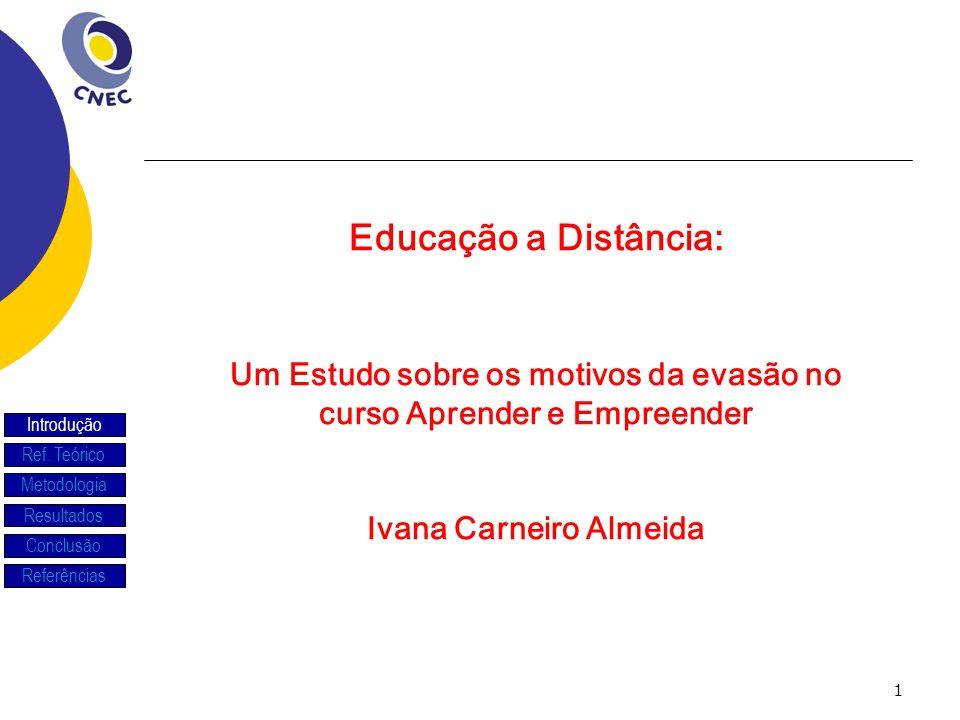 2 Introdução Investigar os motivos da evasão de alunos de um curso gratuito ofertado na modalidade de Educação a DistânciaAprender a Empreender pela Internet-SEBRAE.