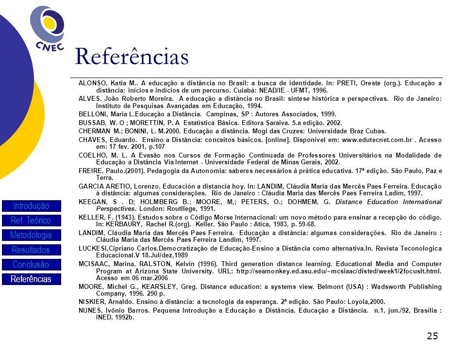 25 Referências ALONSO, Katia M.. A educação a distância no Brasil: a busca de identidade. In: PRETI, Oreste (org.). Educação a distância: inícios e in