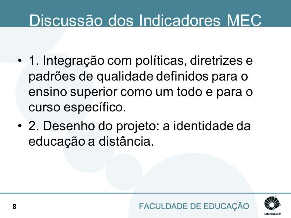 9 Discussão dos Indicadores MEC 3.