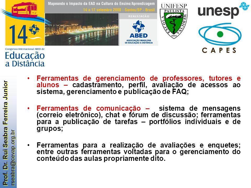 Prof. Dr. Rui Seabra Ferreira Junior rseabra@cevap.org.br Prof. Dr. Rui Seabra Ferreira Junior rseabra@cevap.org.br Ferramentas de gerenciamento de pr