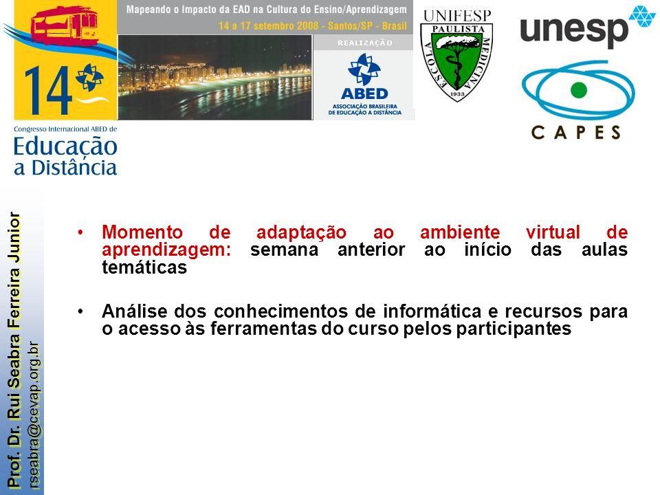 Prof. Dr. Rui Seabra Ferreira Junior rseabra@cevap.org.br Prof. Dr. Rui Seabra Ferreira Junior rseabra@cevap.org.br Momento de adaptação ao ambiente v