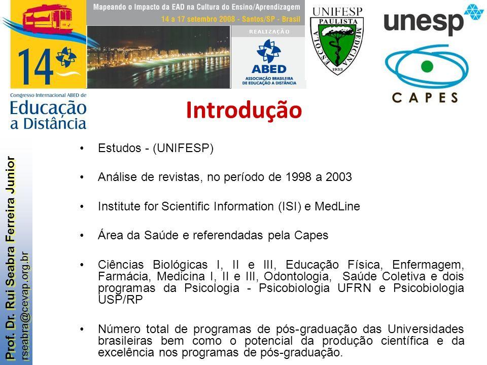 Prof. Dr. Rui Seabra Ferreira Junior rseabra@cevap.org.br Prof. Dr. Rui Seabra Ferreira Junior rseabra@cevap.org.br Introdução Estudos - (UNIFESP) Aná