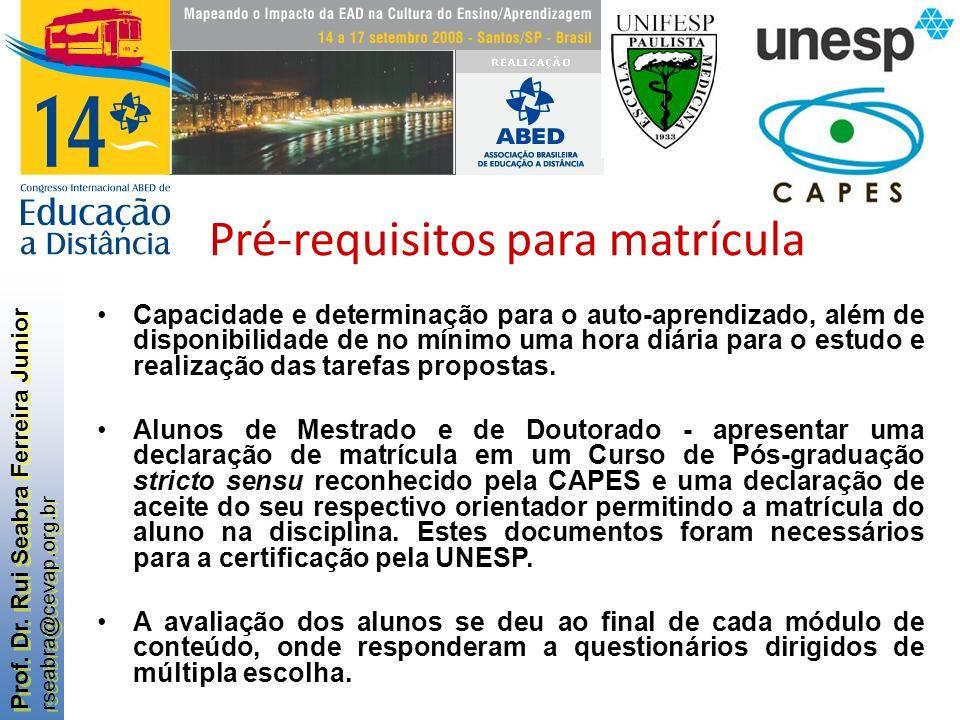 Prof. Dr. Rui Seabra Ferreira Junior rseabra@cevap.org.br Prof. Dr. Rui Seabra Ferreira Junior rseabra@cevap.org.br Pré-requisitos para matrícula Capa