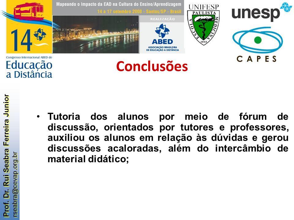 Prof. Dr. Rui Seabra Ferreira Junior rseabra@cevap.org.br Prof. Dr. Rui Seabra Ferreira Junior rseabra@cevap.org.br Tutoria dos alunos por meio de fór