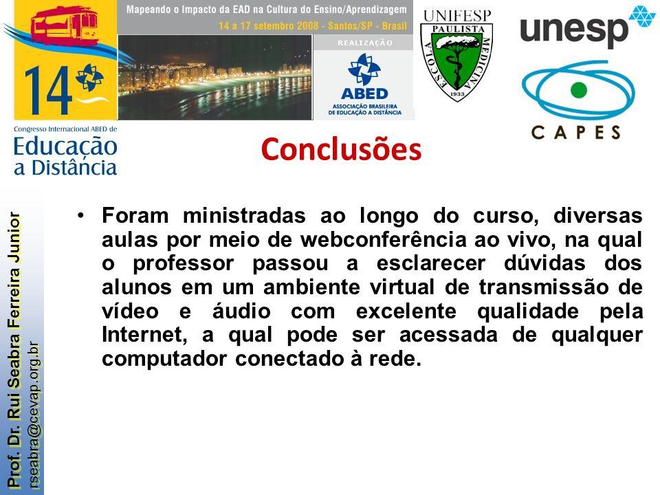 Prof. Dr. Rui Seabra Ferreira Junior rseabra@cevap.org.br Prof. Dr. Rui Seabra Ferreira Junior rseabra@cevap.org.br Foram ministradas ao longo do curs