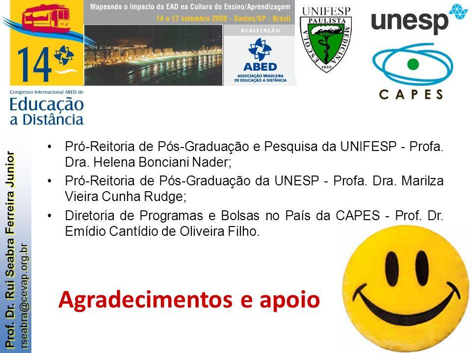 Prof. Dr. Rui Seabra Ferreira Junior rseabra@cevap.org.br Prof. Dr. Rui Seabra Ferreira Junior rseabra@cevap.org.br Agradecimentos e apoio Pró-Reitori