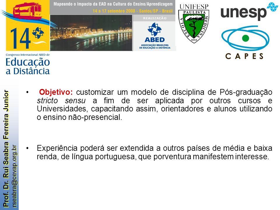 Prof. Dr. Rui Seabra Ferreira Junior rseabra@cevap.org.br Prof. Dr. Rui Seabra Ferreira Junior rseabra@cevap.org.br Objetivo: customizar um modelo de