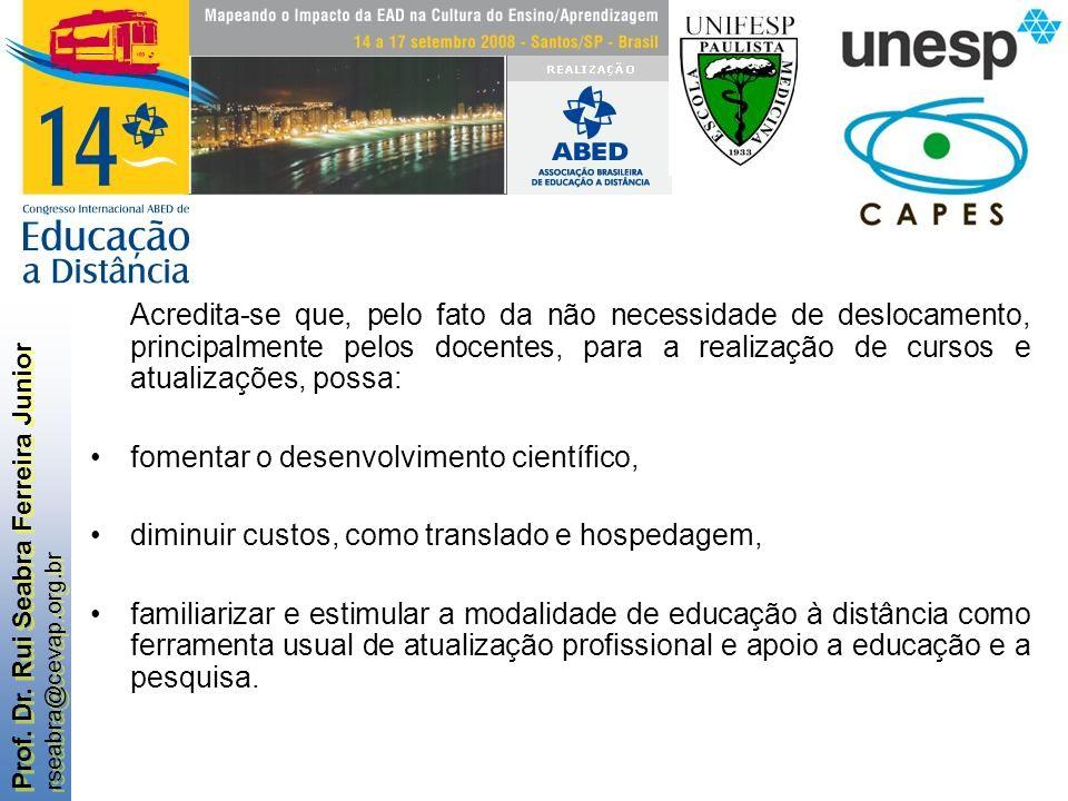 Prof. Dr. Rui Seabra Ferreira Junior rseabra@cevap.org.br Prof. Dr. Rui Seabra Ferreira Junior rseabra@cevap.org.br Acredita-se que, pelo fato da não