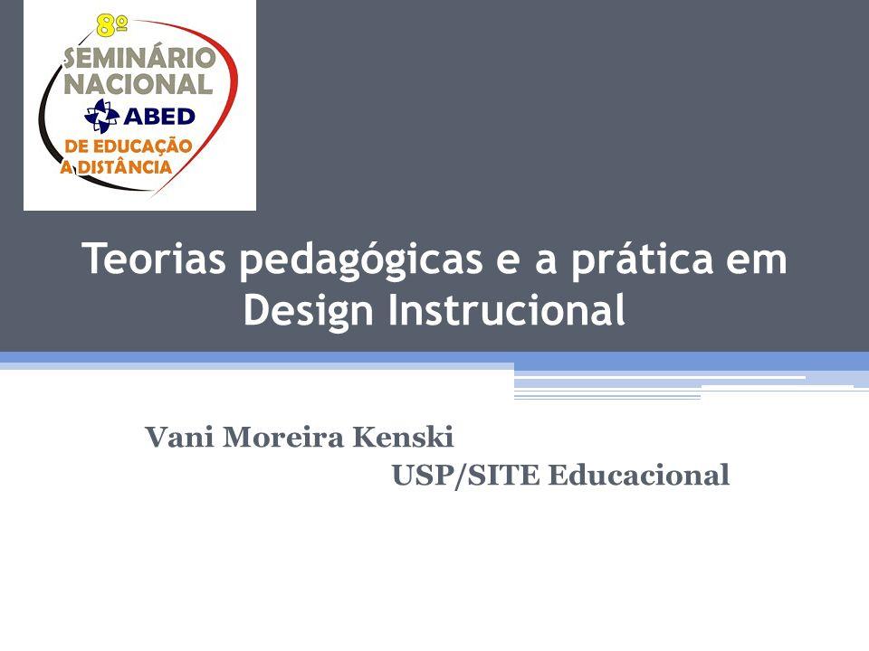 Teorias pedagógicas e a prática em Design Instrucional Apresentação Designers Instrucionais precisam possuir conhecimentos em várias áreas: tecnológicas, pedagógicas, comunicacionais, gerenciais etc.