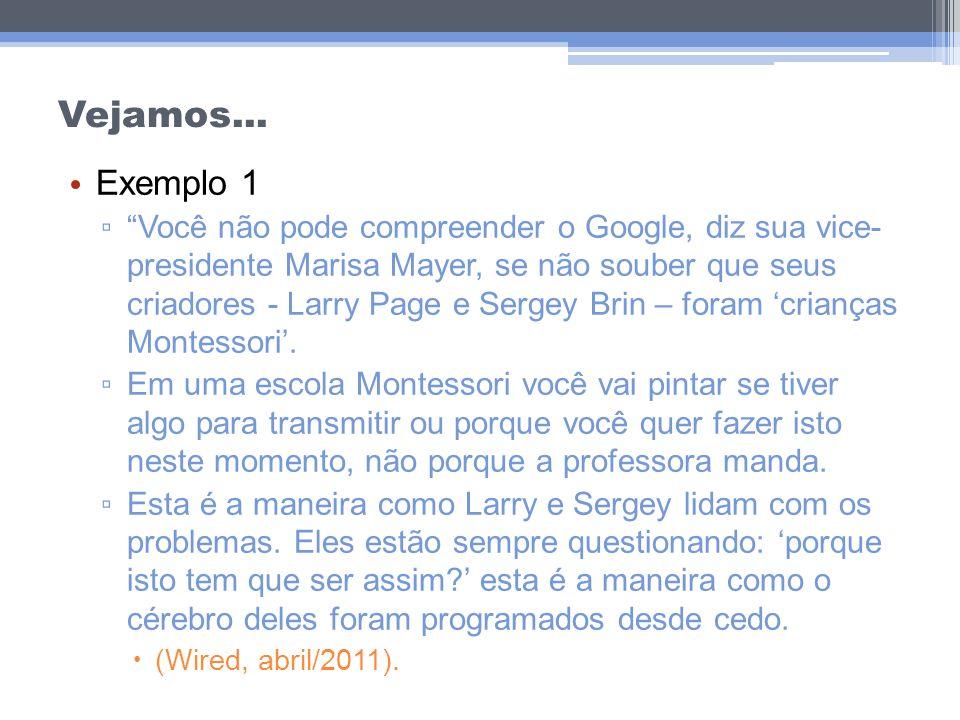 Vejamos... Exemplo 1 Você não pode compreender o Google, diz sua vice- presidente Marisa Mayer, se não souber que seus criadores - Larry Page e Sergey