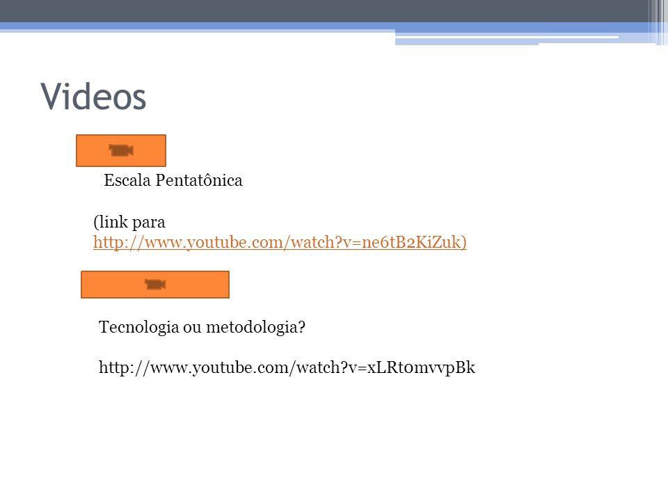 Videos (link para http://www.youtube.com/watch?v=ne6tB2KiZuk) http://www.youtube.com/watch?v=ne6tB2KiZuk) Escala Pentatônica Tecnologia ou metodologia