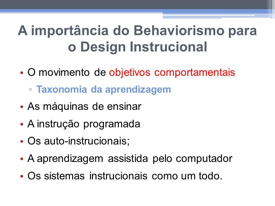 A importância do Behaviorismo para o Design Instrucional O movimento de objetivos comportamentais Taxonomia da aprendizagem As máquinas de ensinar A i