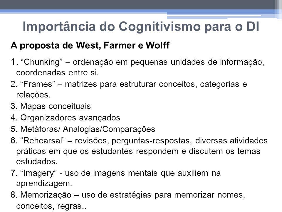 Importância do Cognitivismo para o DI A proposta de West, Farmer e Wolff 1. Chunking – ordenação em pequenas unidades de informação, coordenadas entre