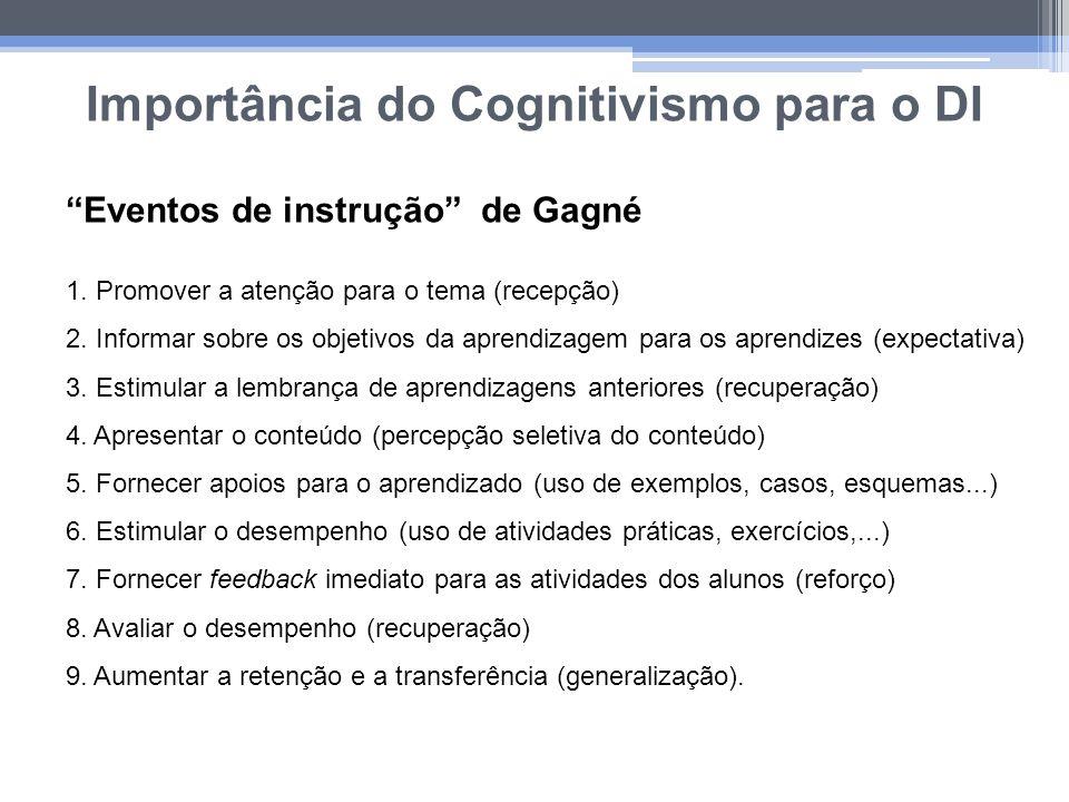 Importância do Cognitivismo para o DI Eventos de instrução de Gagné 1. Promover a atenção para o tema (recepção) 2. Informar sobre os objetivos da apr