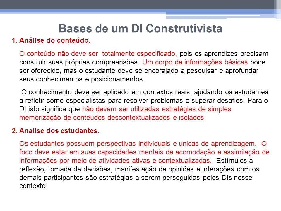 Bases de um DI Construtivista 1.Análise do conteúdo. O conteúdo não deve ser totalmente especificado, pois os aprendizes precisam construir suas própr