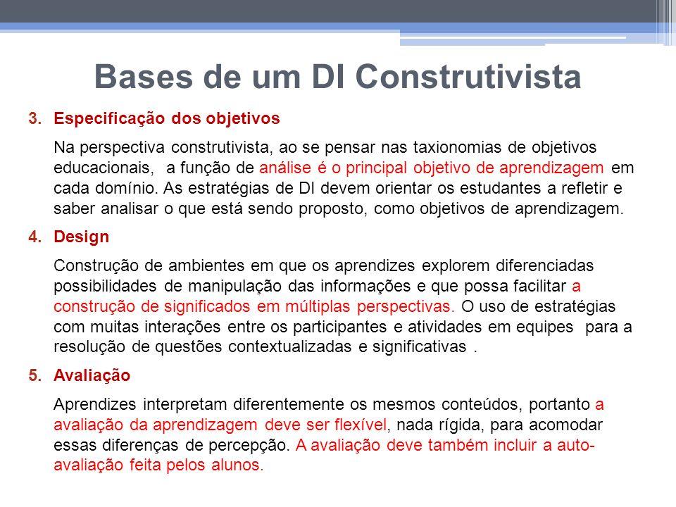 Bases de um DI Construtivista 3.Especificação dos objetivos Na perspectiva construtivista, ao se pensar nas taxionomias de objetivos educacionais, a f