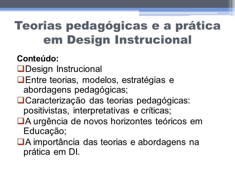 Teorias pedagógicas e a prática em Design Instrucional Conteúdo: Design Instrucional Entre teorias, modelos, estratégias e abordagens pedagógicas; Car