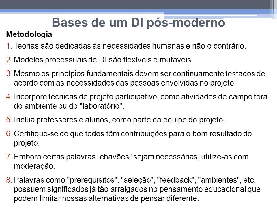 Bases de um DI pós-moderno Metodologia 1.Teorias são dedicadas às necessidades humanas e não o contrário. 2.Modelos processuais de DI são flexíveis e