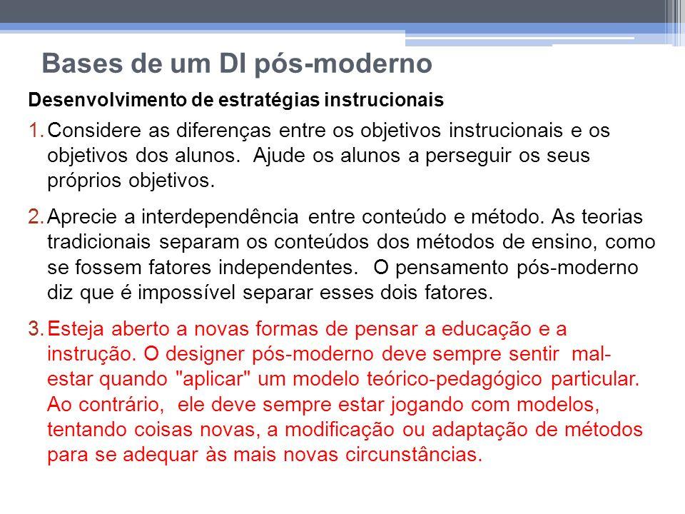 Bases de um DI pós-moderno Desenvolvimento de estratégias instrucionais 1.Considere as diferenças entre os objetivos instrucionais e os objetivos dos