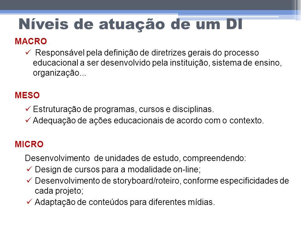 Níveis de atuação de um DI MACRO Responsável pela definição de diretrizes gerais do processo educacional a ser desenvolvido pela instituição, sistema