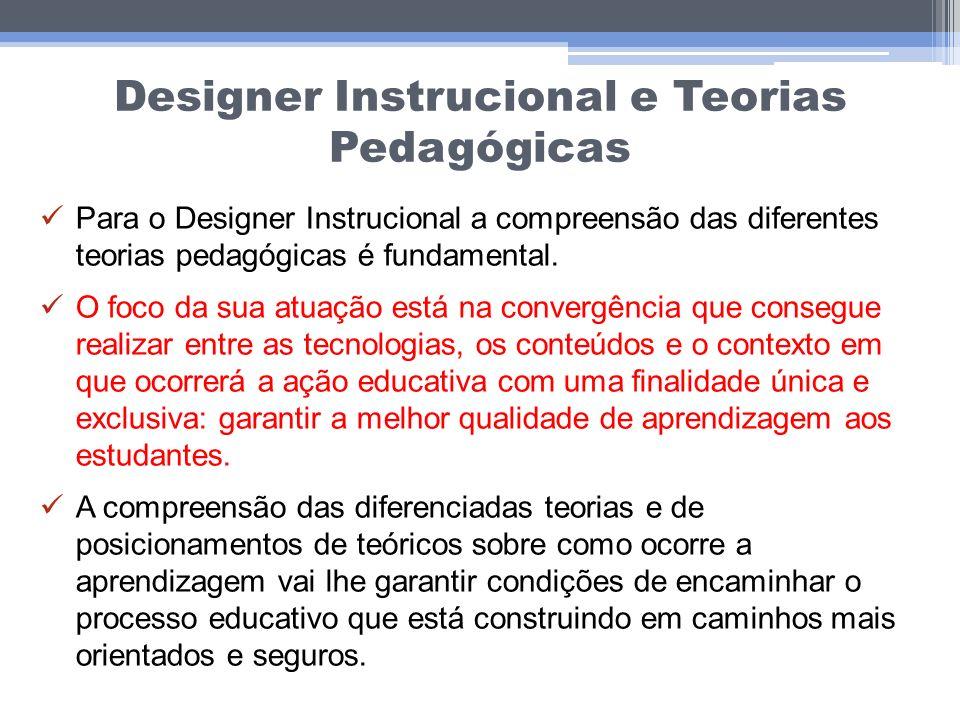 Designer Instrucional e Teorias Pedagógicas Para o Designer Instrucional a compreensão das diferentes teorias pedagógicas é fundamental. O foco da sua