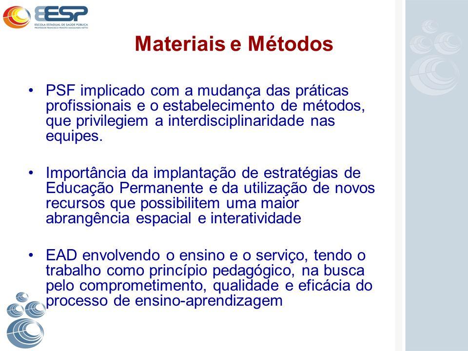 Materiais e Métodos PSF implicado com a mudança das práticas profissionais e o estabelecimento de métodos, que privilegiem a interdisciplinaridade nas