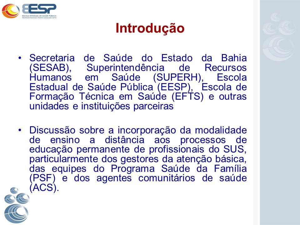 Introdução Secretaria de Saúde do Estado da Bahia (SESAB), Superintendência de Recursos Humanos em Saúde (SUPERH), Escola Estadual de Saúde Pública (E