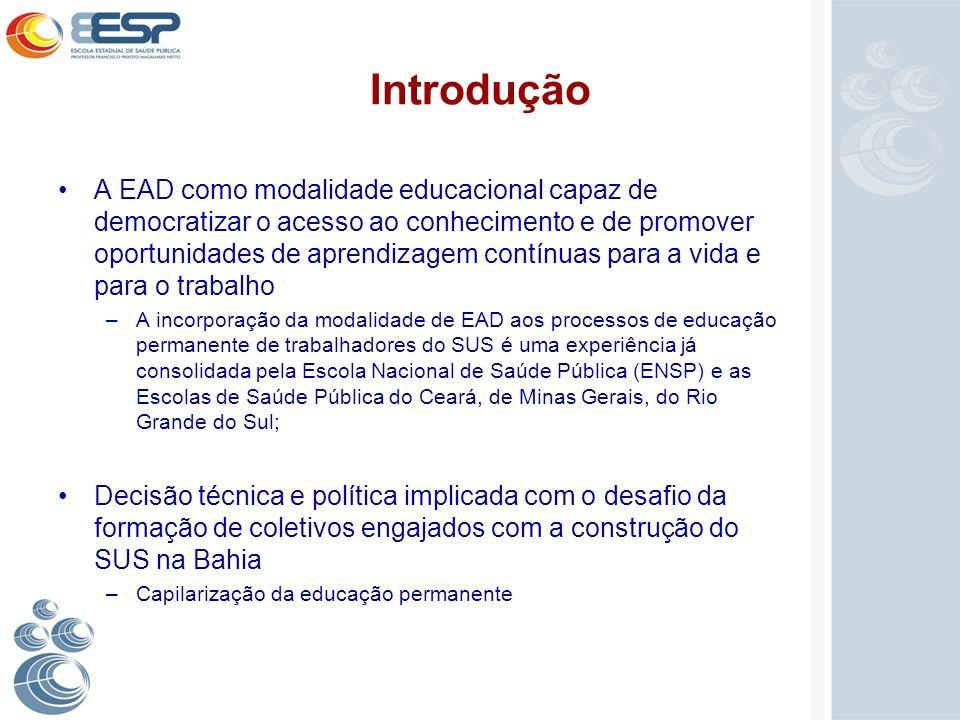Introdução A EAD como modalidade educacional capaz de democratizar o acesso ao conhecimento e de promover oportunidades de aprendizagem contínuas para