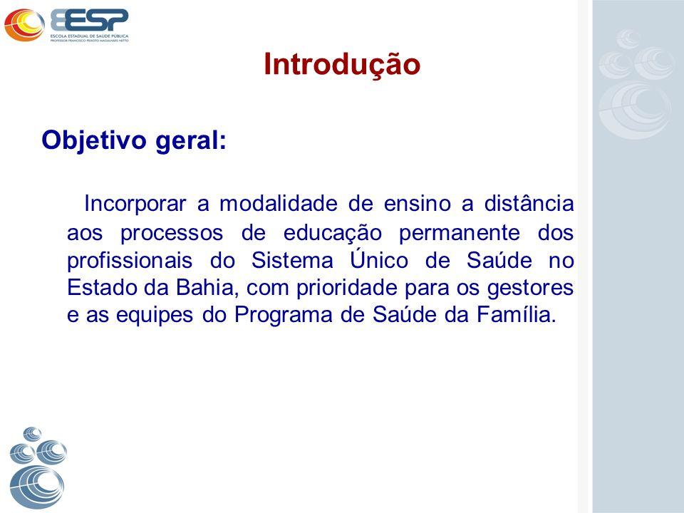 Introdução Objetivo geral: Incorporar a modalidade de ensino a distância aos processos de educação permanente dos profissionais do Sistema Único de Sa