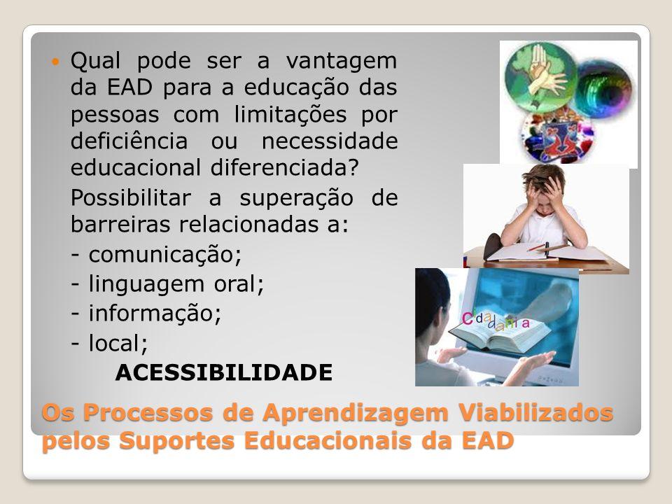 Os Processos de Aprendizagem Viabilizados pelos Suportes Educacionais da EAD Qual pode ser a vantagem da EAD para a educação das pessoas com limitaçõe